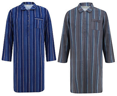 Mens Striped Pullover Night Shirt Brushed Cotton Walker Reid Gentleman Sleepwear