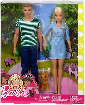 Barbie & Ken Set of 2 Dolls & Puppy Accessories Boxed Toy Playset