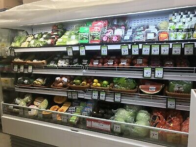 Commercial refrigerated produce display cabinet.