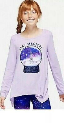 NWT Girls Justice Purple Paris Stay Magical Swing  Top Shirt Sz 14