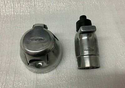 Aluminium 12V 12N 7 Pin Metal Trailer Plug And Socket Caravan Horse Box