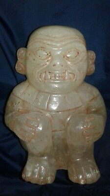 Chavin quartz carved monkey figure with traces of cinnabar, moche, chimu,Peru