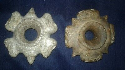 chavin 2 pair Stone mace head of preColumbian carved in the shapes skulls Moche