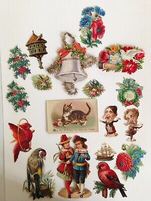 18 Antique Victorian Scraps With A Cat Birthday Card