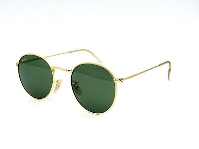 Ray Ban RB 3447 Unisex Round Metal 001 Gold / Green Classic G-15, 50-21-145 NWOT