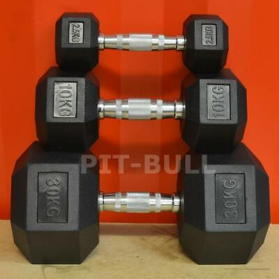 PIT BULL Hex Dumbbell (Pick Weight / Qty) Rubber with Chrome Handle