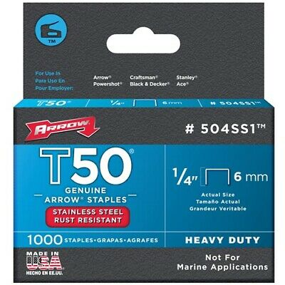 "Arrow T50 1/4"" - 6mm Stainless Steel Staples Pack of 1000"