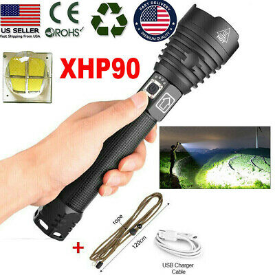 990000LM XHP90 LED Flashlight USB Rechargeable 18650 Torch Light Super Bright US