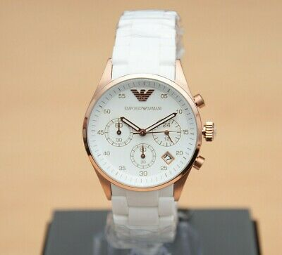 New Genuine Emporio Armani White Silicone Ar5920 Chronograph Ladies Womens Watch