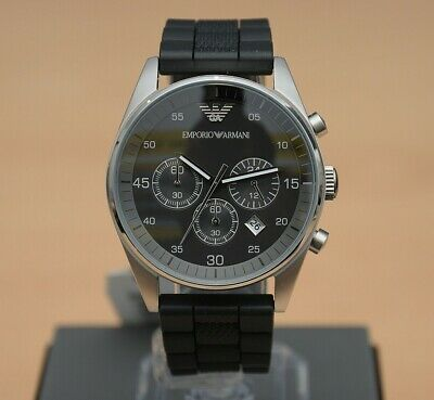 Brand New Genuine Emporio Armani Gents Ar5866 Silicone Mens Chronograph Watch