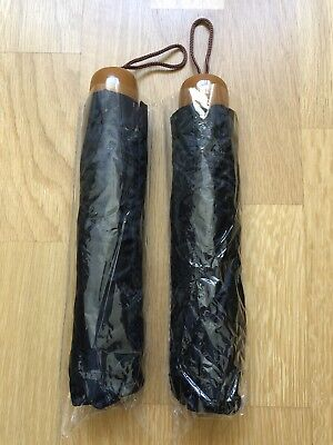 2 X Umbrellas In Black With A Wooden Handle Brand New