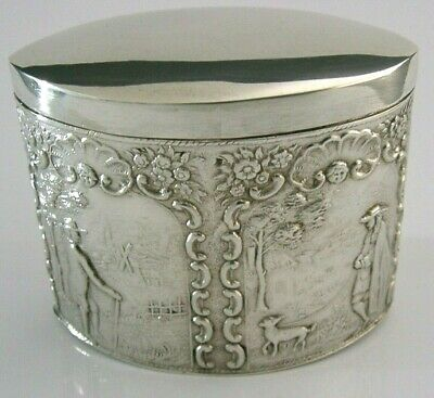 Beautiful Edwardian Dutch Sterling Silver Tea Caddy Canister Box 1904 Antique
