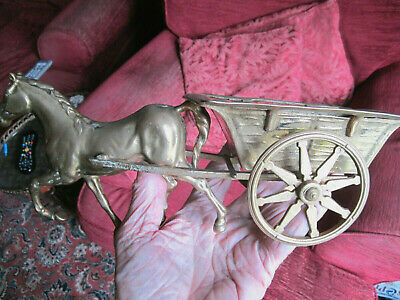 Old Antique Brass Model Farm Horse and Cart Good Detail made c1910 England