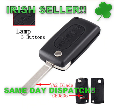 Peugeot Key Fob 207 307 407 Replacement 3 Button Remote Shell (Lights+bat clip)