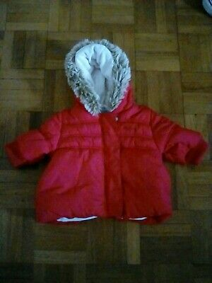 NEXT Girls Red Coat Padded Winter Jacket Age 3-6months Fur Hood good clean Used