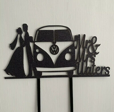 Wedding Campervan VW Personalised Custom Cake Topper Double Sided Colour Elegant