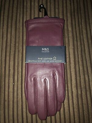 NEW with TAGS TAN brown size LARGE M/&S Ladies Leather Water Resistant Gloves