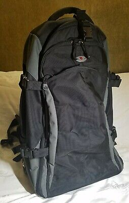 Victorinox E-Motion 360 Wheeled Luggage Backpack Grey/Black Excellent Condition!