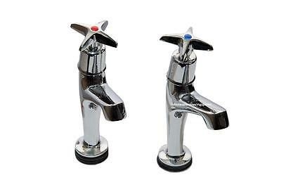 Mechline 500SX-BBN Pair Catering Taps Brass Back Nuts Commercial Kitchen Sink