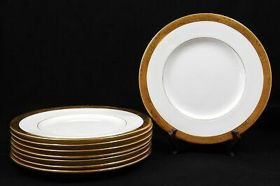 Set of 8 Minton Gold Encrusted Luncheon Plates Globe Mark Bird Urn Floral H3179