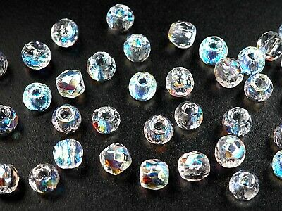 Czech Glass LARGE HOLE Tire Spacer Beads 8x6mm Smoked Topaz 40 pieces P447