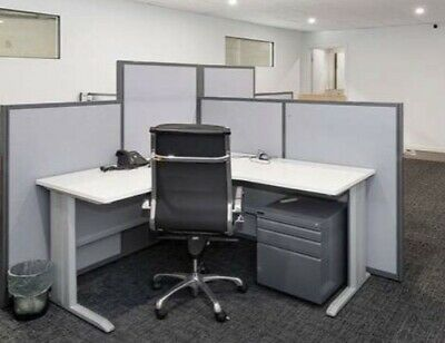 4 Desk Station With Partition