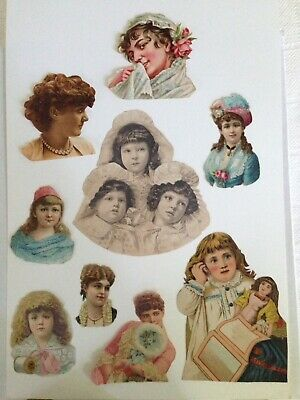 9 Antique Victorian Scraps Of Women And Children