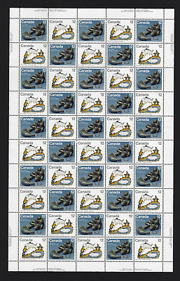 Canada Stamps — Full Pane of 50 — 1977, Inuit Hunting #749a (748-749) — MNH