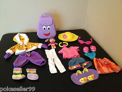 Fisher-Price Dora the Explorer LOT Clothing, Coat, Hat, Boots, Talking Backpack