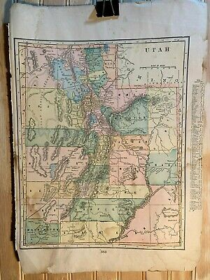 1905 20th Century Atlas J Martin Miller State Map Utah / Nevada 13 x 10