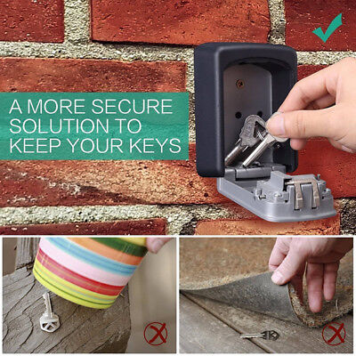 4-Digit Outdoor High Security Wall Mounted Key Safe Box Code Secure Lock-StoraWG