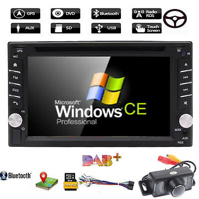 "6.2"" Double 2 Din In Dash Car Stereo DVD Player GPS Navi BT+Backup Camera+8G Map"