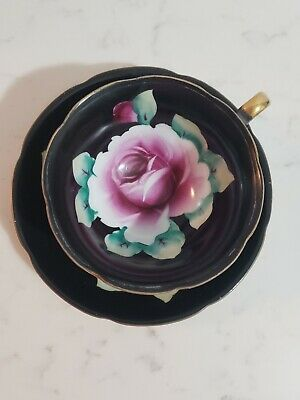 Vintage Porcelain Hand Painted Japan Black With Roses Tea Cup And Saucer