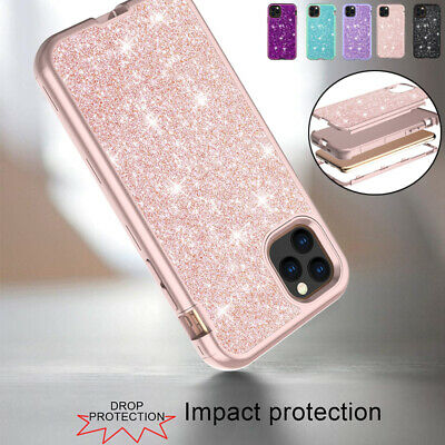 Fr iPhone 11 Pro Max Luxury Bling Glitter Case PC+Silicone Shockproof Back Cover