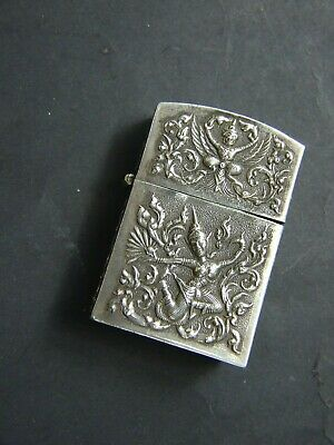 Antique Siam Silver  Thailand Cigarette Lighter Fluid  Dancing Buddha Figurines