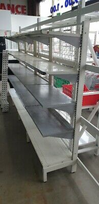 4 bays used single sided gondola shelving in used condition 1800 x 900 5 shelves