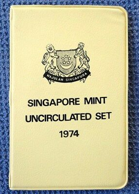 1974 SINGAPORE - OFFICIAL MINT SET (6) - YEAR of TIGER - ORIG. YELLOW WALLET