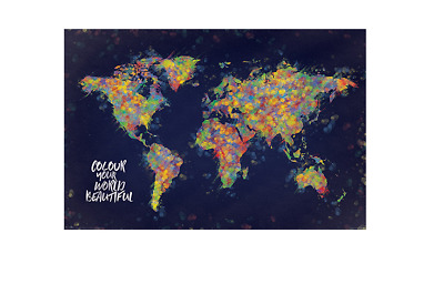 World Map Poster Colour Your World Beautiful 91.5x61cm PP34098