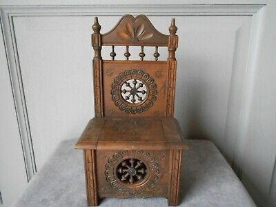 Vintage French BRITTANY Hand Carved miniature Doll Furniture ARMCHAIR