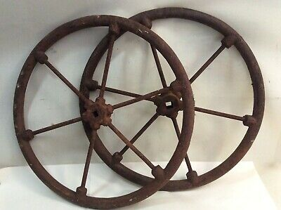 Pair of Antique Heavy Solid Steel Wagon Wheels