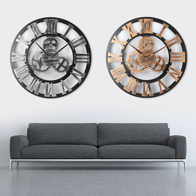 60CM Outdoor Garden Large Metal Wall Clock Vintage Roman Numeral Gear Rustic UK
