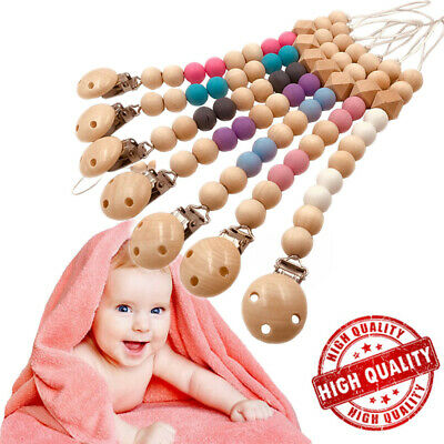 Baby Infants Nipple Holder Chewing Toy Pacifier Clip Wooden Chain Soother Beads