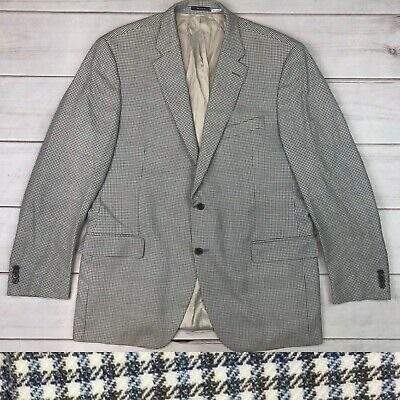 Peter Millar Men's 46T Checkered Plaid Wool Ivory Sport Coat Blazer Jacket 46