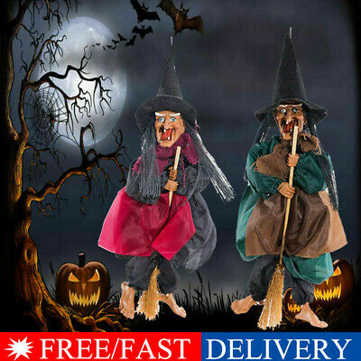 """12"""" Halloween Hanging Animated Talking Witch Props Laughing Sound Control Decor*"""
