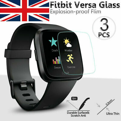 3pcs Fitbit Versa 9H Hardness Tempered Glass Screen Protector Smart Watch Film