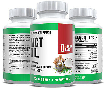 MCT Oil Capsules Softgels Coconut Oil Keto Ketogenic Ketosis Diet Supplement