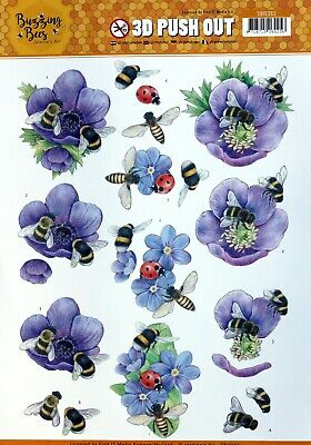 A4 DIE CUT 3D PAPER TOLE DECOUPAGE Push Out Sheet Buzzing Bees and Flowers