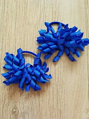 Handmade Girls School Royal Blue Hair Bow Bobbles Sold In Pairs