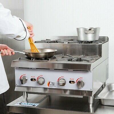 """24"""" NATURAL GAS Step-Up Countertop Range / Hot Plate with 4 High Output Burners"""