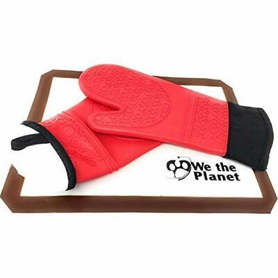 """2 Pc Set Of Silicone Oven Mitts Extra Long Pair Pot Holder Fit To Protect Your """""""